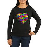 Jelly Puzzle Heart Women's Long Sleeve Dark T-Shir