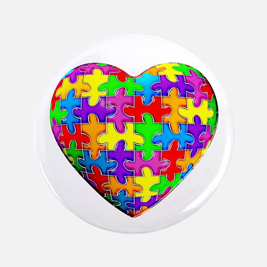 """Jelly Puzzle Heart 3.5"""" Button (100 pack)"""