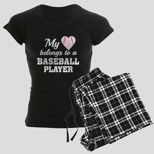 Heart Belongs Baseball Women's Dark Pajamas