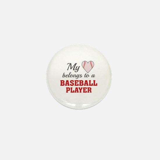 Heart Belongs Baseball Mini Button