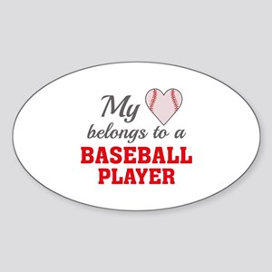 Heart Belongs Baseball Sticker (Oval)