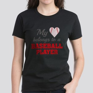 Heart Belongs Baseball Women's Dark T-Shirt