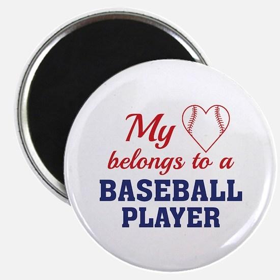 "Heart Belongs Baseball 2.25"" Magnet (10 pack)"