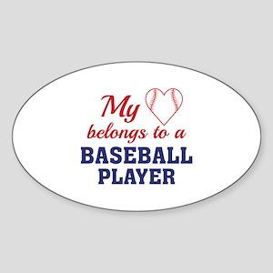 Heart Belongs Baseball Sticker (Oval)