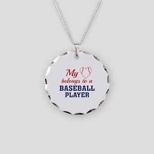 Heart Belongs Baseball Necklace Circle Charm