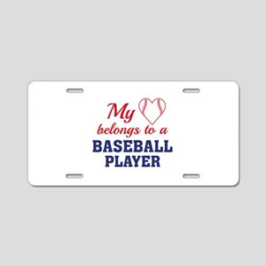 Heart Belongs Baseball Aluminum License Plate