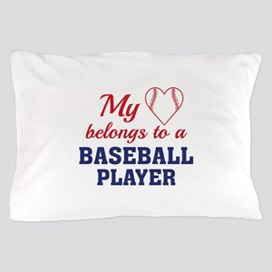 Heart Belongs Baseball Pillow Case