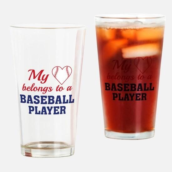 Heart Belongs Baseball Drinking Glass