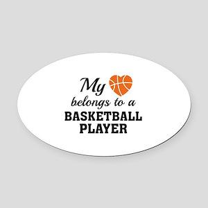 Heart Belongs Basketball Oval Car Magnet