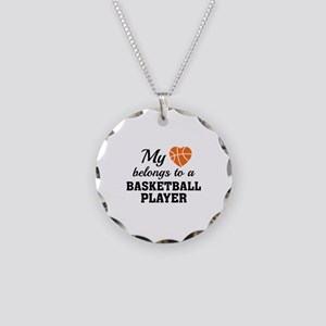 Heart Belongs Basketball Necklace Circle Charm