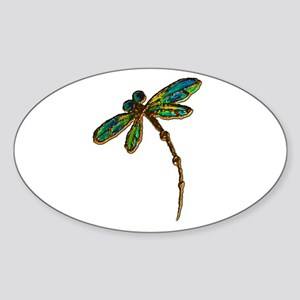 Electric Green Gold Dragonfly Sticker