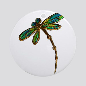 Electric Green Gold Dragonfly Round Ornament
