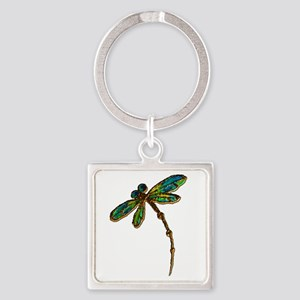 Electric Green Gold Dragonfly Keychains