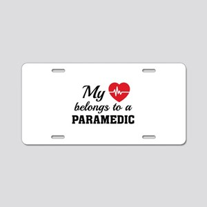 Heart Belongs Paramedic Aluminum License Plate