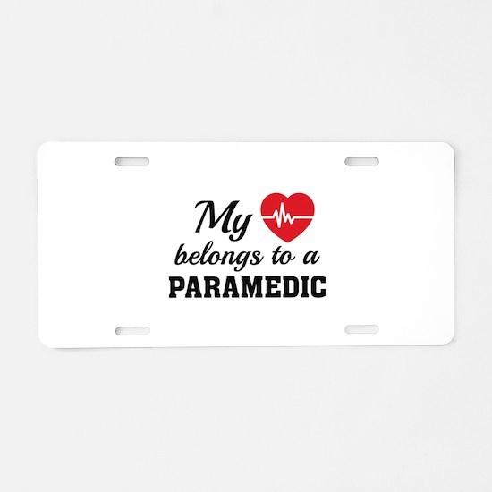 Heart Belongs Paramedic Aluminum License Plate