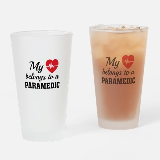 Heart Belongs Paramedic Drinking Glass