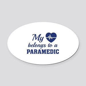 Heart Belongs Paramedic Oval Car Magnet