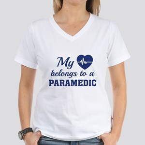 Heart Belongs Paramedic Women's V-Neck T-Shirt