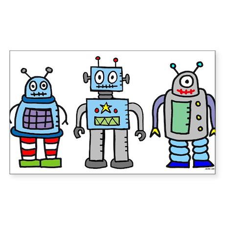 Robot Family Rectangle Sticker