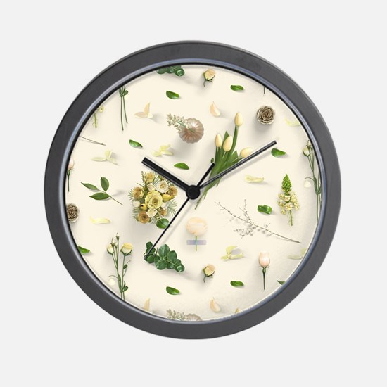 Scattered Flowers Yellow Wall Clock
