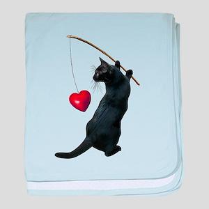 Black Cat Fishing Heart baby blanket