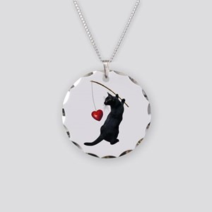 Black Cat Fishing Heart Necklace Circle Charm