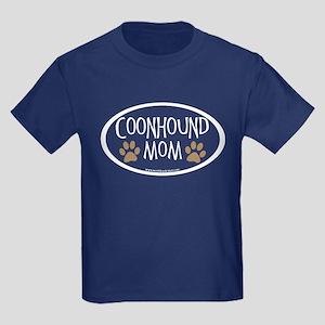 Coonhound Mom Oval Kids Dark T-Shirt