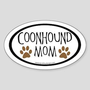 Coonhound Mom Oval (inner border) Oval Sticker