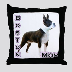 Boston Mom4 Throw Pillow