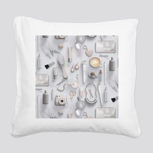 White Vanity Table Square Canvas Pillow