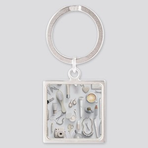 White Vanity Table Square Keychain