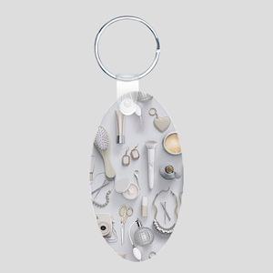 White Vanity Table Aluminum Oval Keychain