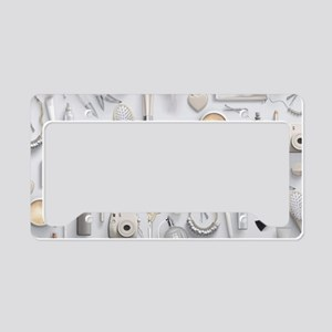 White Vanity Table License Plate Holder