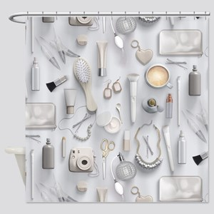 White Vanity Table Shower Curtain