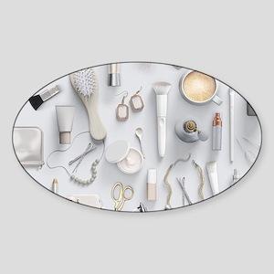 White Vanity Table Sticker (Oval)