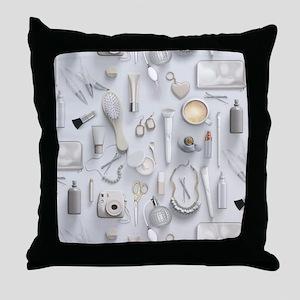 White Vanity Table Throw Pillow