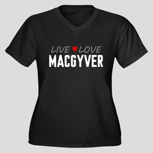 Live Love MacGyver Women's Dark Plus Size V-Neck T