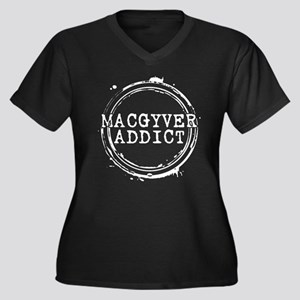 MacGyver Addict Stamp Women's Dark Plus Size V-Nec