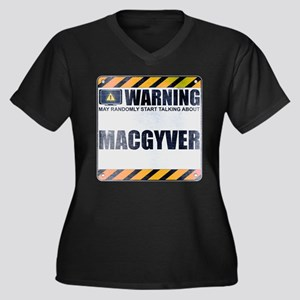 Warning: MacGyver Women's Dark Plus Size V-Neck T-