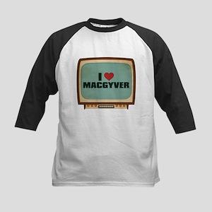 Retro I Heart MacGyver Kids Baseball Jersey