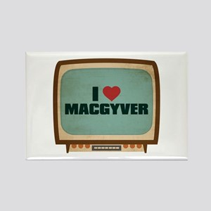 Retro I Heart MacGyver Rectangle Magnet