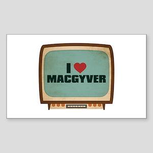 Retro I Heart MacGyver Rectangle Sticker