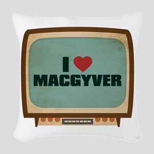 Retro I Heart MacGyver Woven Throw Pillow