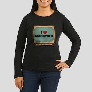 Retro I Heart MacGyver Women's Dark Long Sleeve T-