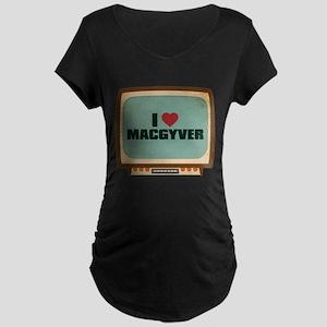 Retro I Heart MacGyver Dark Maternity T-Shirt