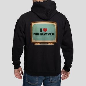 Retro I Heart MacGyver Dark Hoodie