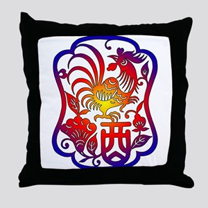 Chinese Zodiac Rooster Throw Pillow