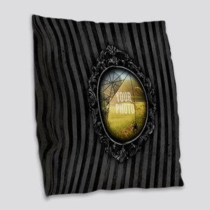 YOUR PHOTO Gothic Frame Spider Burlap Throw Pillow