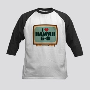 Retro I Heart Hawaii 5-0 Kids Baseball Jersey