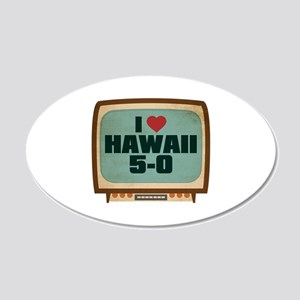 Retro I Heart Hawaii 5-0 22x14 Oval Wall Peel
